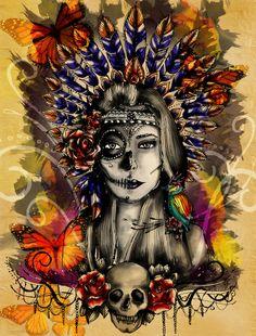Indian Mexican Skull with headdress. Mexican Skull Tattoos, Sugar Skull Tattoos, Sugar Skull Art, Mexican Skulls, Sugar Skulls, Indian Skull Tattoos, Aztecas Art, Catrina Tattoo, Totenkopf Tattoos