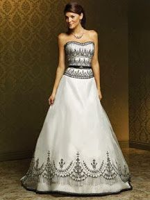 Traje de novia blanco y negro | Black and White Wedding Dress - This is a Mia Solano and is #2 on my list.