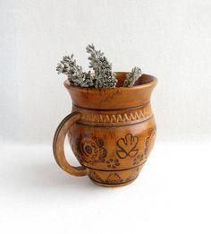 Decorative Carpathian soviet wooden cup