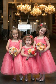 Pink Coral Flower Girl Dresses Coral Flower Girl Dresses, Flower Girl Tutu, Coral Dress, Flower Girls, Wedding Bridesmaid Flowers, Wedding Dresses, Gown Wedding, Wedding With Kids, Wedding Ideas