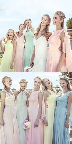 1de88b45066 Junior Young Girls Simple Cheap Chiffon Convertible Mismatched Styles  Different Colors Long Formal Bridesmaid Dresses for Wedding Party