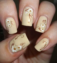 White Brown Flower Nail Art Water Slide Sticker Decals USA Seller 1013