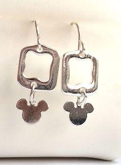 Silver Mickey Mouse Earrings Ears Dangle Disney Pierced Plated Light USA Seller #Unbranded #DropDangle