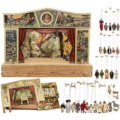 Toy Theaters and a Cast of 26 Marionettes: Probably Sonneberg, Germany, 1940s/50s, theater with proscenium, curtain, 3 reversible backdrops and related scenery, stage 15 ¾ in. (40 cm) x 30 in. (76 cm), theater with proscenium depicting folklore characters, curtain and Medieval backdrop, 26 marionettes with plaster-composition heads and limbs, original paint and many with original costumes