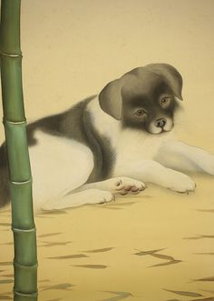 "YAMANOUCHI SHINICHI ""Lying Puppy and Bamboo"""