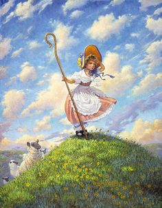 Little Bo Peep meets art! Little Bo Peep by Scott Gustafson - love the sky and sense of clean fresh air in this painting Print Image, Classic Fairy Tales, Fable, Little Bo Peep, Fairytale Art, Mother Goose, Gif Animé, Children's Book Illustration, Nursery Rhymes