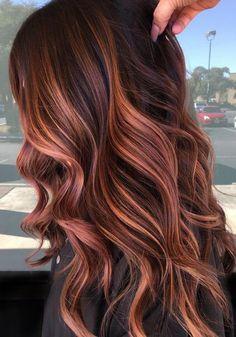 Hair Color Auburn, Hair Color Highlights, Hair Color Balayage, Copper Balayage Brunette, Auburn Balayage Copper, Deep Auburn Hair, Caramel Highlights, Hair Color Shades, Hair Color And Cut