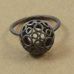 A trendy darkened sterling silver ring with dome of circles. Check out our oxidised handmade sterling silver jewellery. Oxidized Silver, Handmade Sterling Silver, Sterling Silver Jewelry, Band, Stuff To Buy, Sash, Bands, Handmade Silver