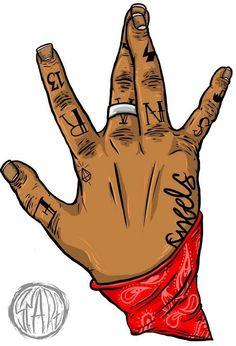 @xbrattt 🕊🦋 Blood Wallpaper, Rap Wallpaper, Arte Do Hip Hop, Hip Hop Art, Arte Lowrider, Tupac Art, Graffiti, Trill Art, Blood Art