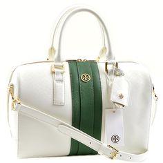 Designer Handbags Rescue Overstock Buyout - Tory Burch Robinson Striped  Middy Satchel fd60cda4ae5b4