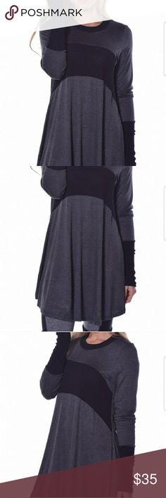 🛍 NEW ARRIVAL🛍 Beautiful black and grey tunic, very soft and comfortable. Would go great with leggings and boots....I have sizes Small, Medium, Large and Xlarge Pastels Clothing Tops