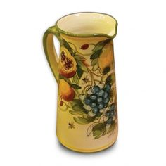 Toscana Hand Painted Bees Tall Pitcher From Italy Old Pottery, Ceramic Pottery, Under The Tuscan Sun, Italian Pottery, Ceramic Pitcher, Hand Painted Ceramics, Bees, Stoneware, Italy