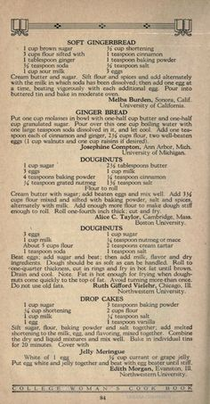 College cookbook-image of page 76 Retro Recipes, Old Recipes, Donut Recipes, Cookbook Recipes, Vintage Recipes, Bread Recipes, Sweet Recipes, Cake Recipes, Dessert Recipes