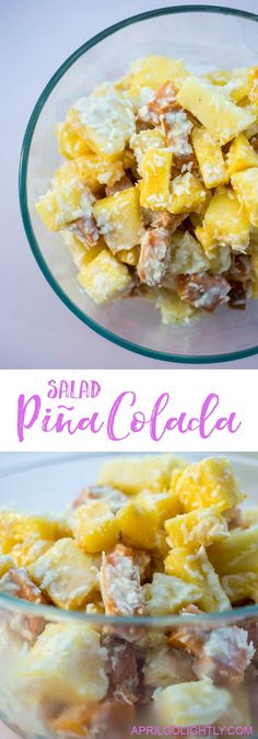 This Pina Colada Salad makes the most refreshing summer treat. It's an easy recipe you can bring to your next summer cookout! #PinaColadaIdeas #SummerSalads #AprilGolightly