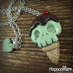 Skull Ice Cream Cone Necklace by rapscalliondesign on Etsy