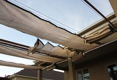 What Are the Pros And Cons of Pergola Shade Cover : Retractable Shade Cover For Pergola. Retractable shade cover for pergola. Pergola On The Roof, Pergola Carport, Covered Pergola, Backyard Pergola, Patio Roof, Attached Pergola, Corner Pergola, Pergola Swing, Gazebo