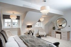 These stylish loft bedroom ideas can help you find the perfect design for your own bedroom space. Decorating and planning the furniture layout of loft bedrooms can be a challenge due to their unique layouts. Attic Bedroom Designs, Attic Bedrooms, Coastal Bedrooms, Bedroom Layouts, Luxurious Bedrooms, Bedroom Ideas, Bedroom Inspiration, Loft Bed Room Ideas, Large Bedroom Layout