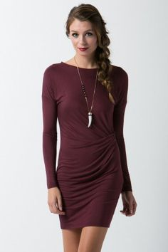 Jersey Long Sleeve Dress with Front Shirring