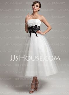 Short and Tea Length Wedding Dresses : A-Line/Princess Strapless Ankle-Length Satin Tulle Wedding Dresses With Lace Sas