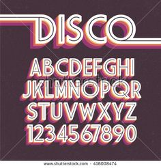 Illustration of Retro Font. disco alphabet vector art, clipart and stock vectors. Cool Typography, Typography Letters, Retro Humor, Letras Cool, Aesthetic Fonts, 80s Aesthetic, Retro Font, Graffiti Alphabet, Typography Inspiration