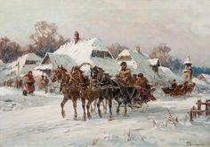 Władysław Chmieliński: Zimowy zaprzęg olej, płótno, 50,5 × 70,5 cm sygn. p. d.: Wł.Chmieliński