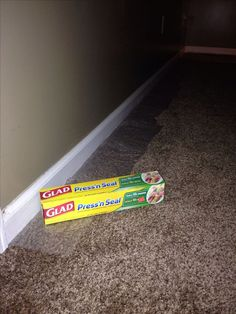 Protect carpet with peel and stick plastic wrap when painting baseboards