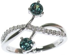 Ring - Alexandrites & Diamonds in 18K White Gold