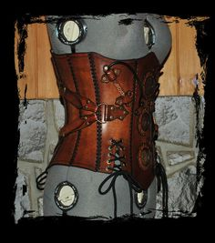Steampunk corset patterns | steampunk leather corset side view by *Lagueuse on deviantART