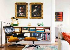 black leather eames lounge... so classic, wish i could find something non-leather with this look