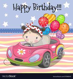 Cute Cartoon Girl with balloon. Greeting card Cute Cartoon Girl on a car with balloon stock illustration Happy Birthday Greetings Friends, Happy Birthday Kids, Happy Birthday Celebration, Birthday Wishes Messages, Happy Birthday Pictures, Birthday Cartoon, Birthday Clipart, Birthday Cards, Its A Girl Balloons