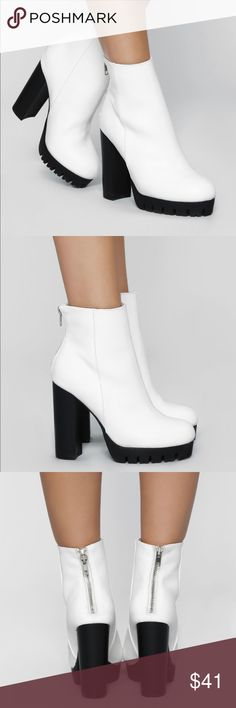 "f4364ad78653 Fashion Nova ""Do the Talking Bootie"" white boots NWT"