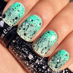 Ombre nail art in green #nailart #glitter #polish - bellashoot.com