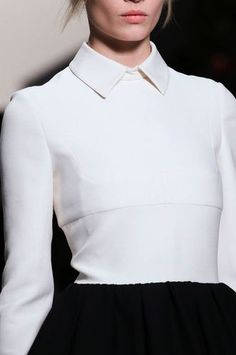 Elegance in Simplicity - minimal white buttonless blouse with sharp collar