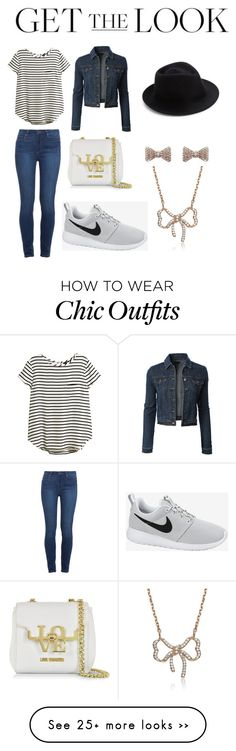 """""""#celebairportstyle"""" by hintsaselam on Polyvore featuring Paige Denim, H&M, LE3NO, NIKE, Moschino, Collette Z, Humble Chic and Eugenia Kim"""