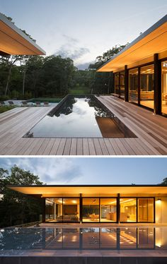 Bates Masi + Architects have designed a modern house in Amagansett, New York, for their clients, a family who have a passion for being on the water.This modern house has a reflecting pool that sits between the two wings of the home. Glass House, House Goals, Pool Designs, Modern House Design, Modern Contemporary House, Exterior Design, Future House, Interior Architecture, Fashion Architecture