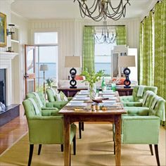 Our Favorite Green Rooms: Lively Living Area - Our Favorite Green Rooms - Coastal Living Mobile Beach Dining Room, Green Dining Room, Green Rooms, Green Kitchen, Green Walls, Interior Exterior, Home Interior, Interior Design, Interior Modern