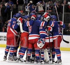 NY Rangers celebrate game 7 win...Eliminate Ottawa from Stanley Cup playoffs