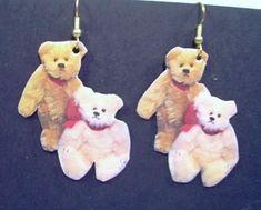 Teddy Bears * Whimsical PAPER Decoupage EARRINGS * Pink + Gold Friends Handmade  | eBay  earrings #artist #teddy #bears #teddybears #RooseveltBearCo #Roosevelt #Bear #co #shop #find #buy #win #today #MaxRainet #ThankYou #staysafe #livewell and #hope Grey Teddy Bear, Teddy Bears, Vintage Fur, Bear Art, Soft Sculpture, Pink And Gold, Charity, Decoupage, Whimsical