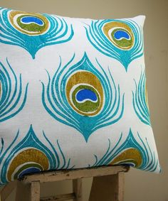 Turquoise Blue Peacock Feather linen pillow case