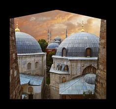 Sumon Mukherjee- The Blue Mosque from a window of Hagia Sophia