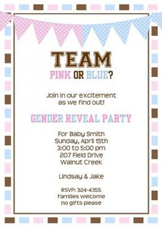 Sports Team Baby Gender Reveal Shower or edit the wording for Baby SHower