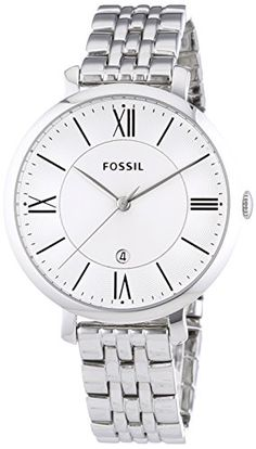 FOSSIL women watch - Round stainless steel case (diam. 36 mm) in polished finishing - 3 ATM water pressure resistance construction Stainless steel bracelet in polished finishing - Locking clasp with push button Silver dial with pattern, black indexes and roman numbers at 3/6/9/12 - 3 hand movement with date - Silver hands - Mineral glass