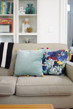 DIY Velvet Pom Pom Pillows // www.gohausgo.com