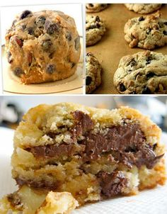 If you like big, fat, chewy and gooey chocolate chip cookies, try these decadent monsters. A copycat recipe of the famous Levain Bakery NYC chocolate chip cookie. Each cookie weighs 4 to 6 ounces! #recipe