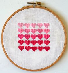 DIY: cross stitch pink ombre hearts