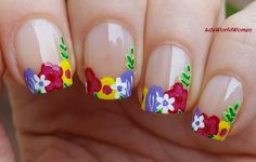 #Flower #Frenchmanicure #Nailart With Acrylic Paint / https://www.youtube.com/user/LifeWorldWomen