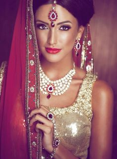 Indian bridal fashion. Bridal lehenga and jewelry.