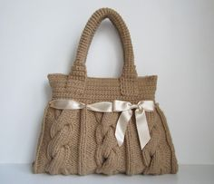 thick yarn cable knit tote