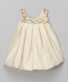 This Champagne Sequin Bubble Dress - Infant, Toddler & Girls is perfect! #zulilyfinds