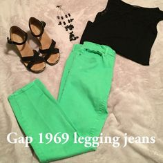 SALE Gap 1969 legging jeans Beautiful spring green color! Gap 1969 legging jean. 5 pocket style. There are 2 places where a touch of bleach got on them. Last 2 photos. 91% cotton 6% polyester 3% spandex GAP Pants Leggings